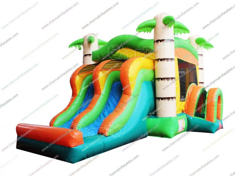 palm tree inflatable combo with 2 slides