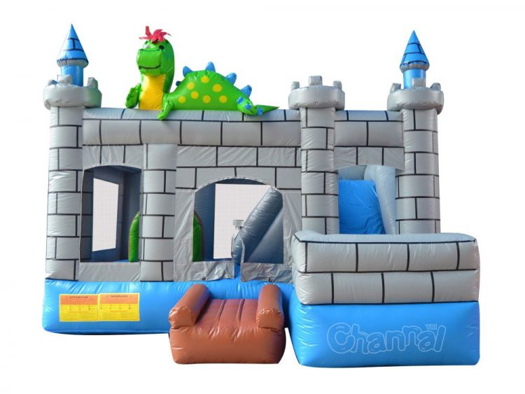 green dinosaur inflatable castle combo