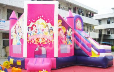 pink disney princess inflatable combo