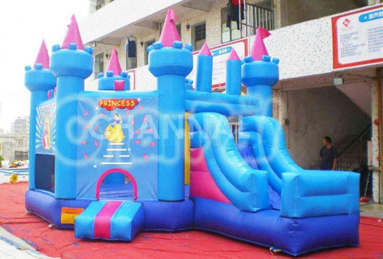 blue princess inflatable castle combo