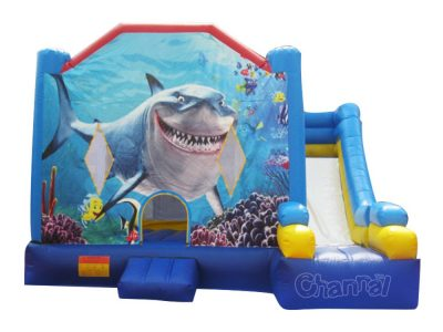 big shark theme inflatable combo