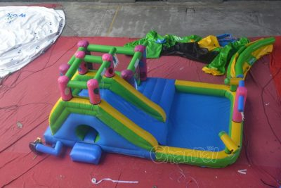 water slide bounce house with water cannon