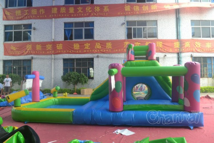 water slide pool with bounce house