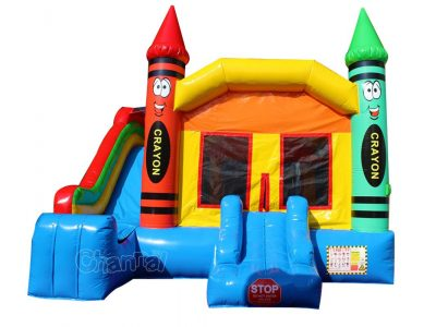 commercial crayon bouncy castle with slide for children