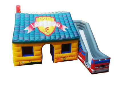 inflatable fire house with slide