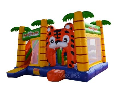 jungle tiger theme inflatable combo with slide