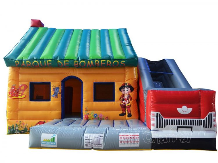 fire station bounce house with slide for sale