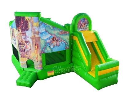 inflatable Madagascar bounce house combo with slide