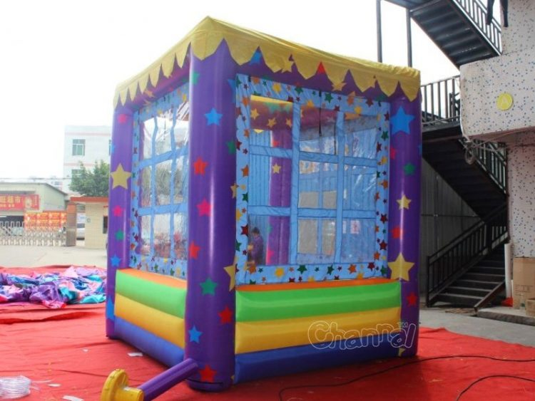 inflatable kiosk booth with netting window