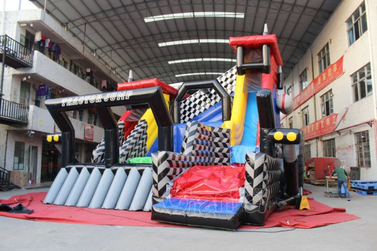 tractor themed freefall jump inflatable platform
