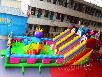 cartoon animals inflatable playground
