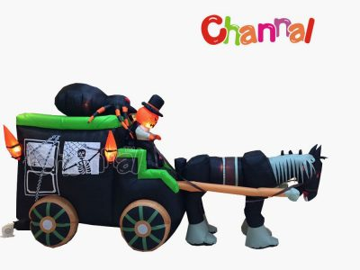 spooky inflatable Halloween stagecoach with pumpkin ghost and spider