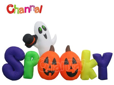 spooky inflatable Halloween letters decoration with lights