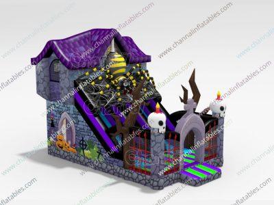 creepy house inflatable slide