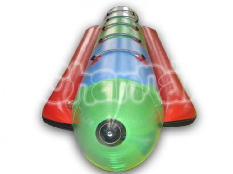 green inflatable towable banana boat