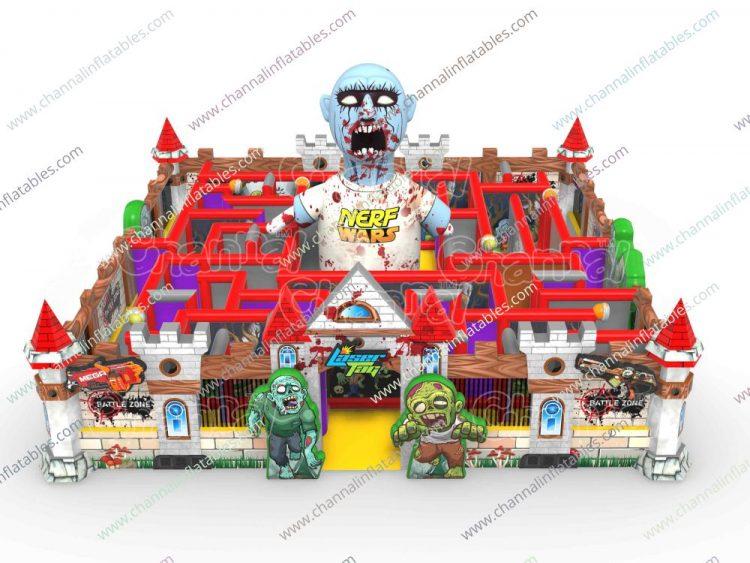 zombie nerf war inflatable maze