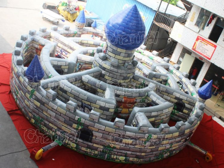 inside view of inflatable castle maze