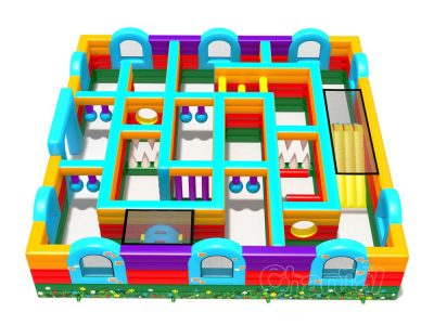 fun inflatable lawn maze for kids
