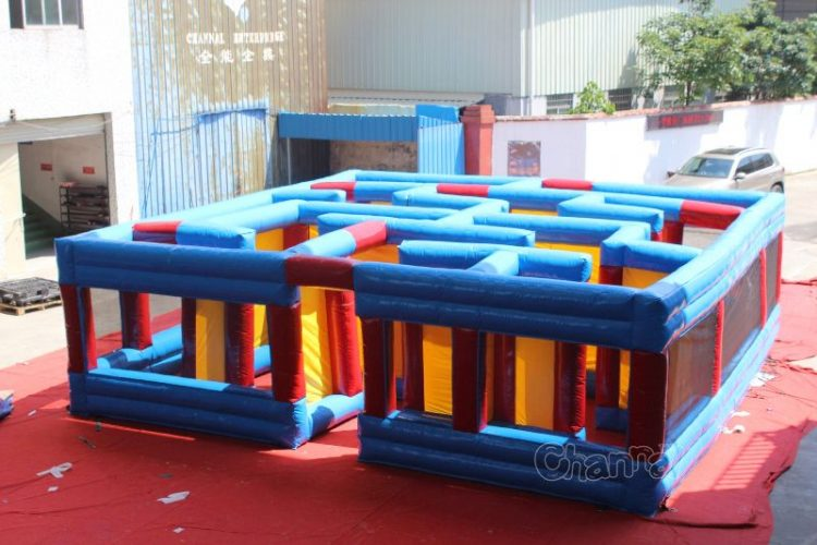 blue small inflatable maze
