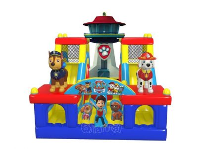 paw patrol theme inflatable course