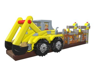 excavator themed inflatable obstacle course for sale