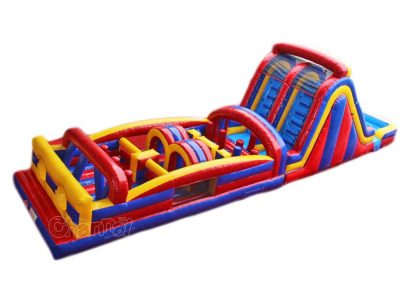 inflatable obstacle course with water slide for kids