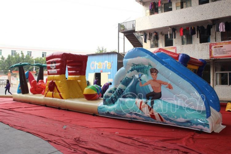 surfboard inflatable obstacle course