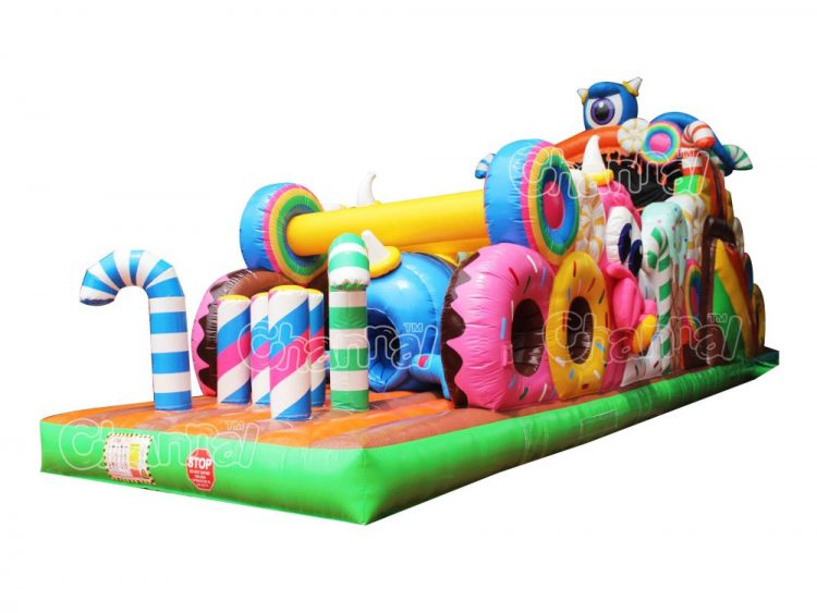 candy monster inflatable obstacle course
