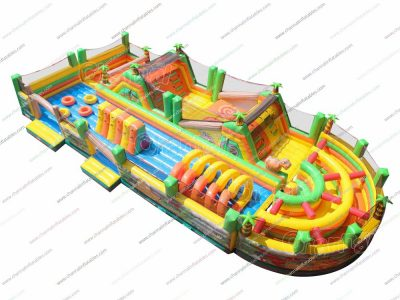 jurassic dinosaurs inflatable obstacle course