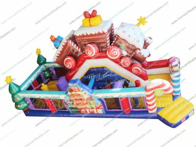 christmas train inflatable obstacle course