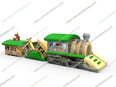 jungle train inflatable obstacle course