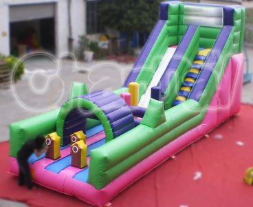 inflatable slide with obstacle course