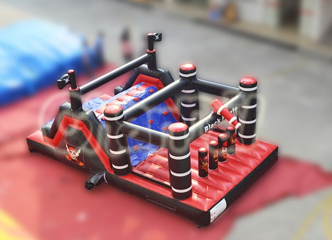black pirate inflatable obstacle course