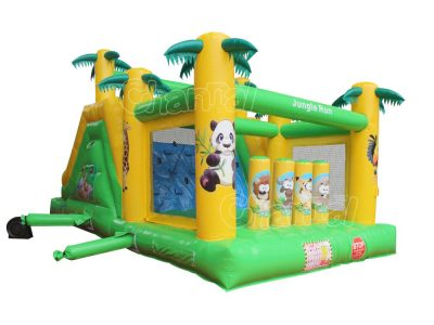 small tropical inflatable obstacle course for little kids