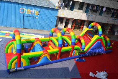 rainbow inflatable obstacle course
