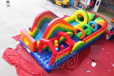 coloful rainbow inflatable obstacle course