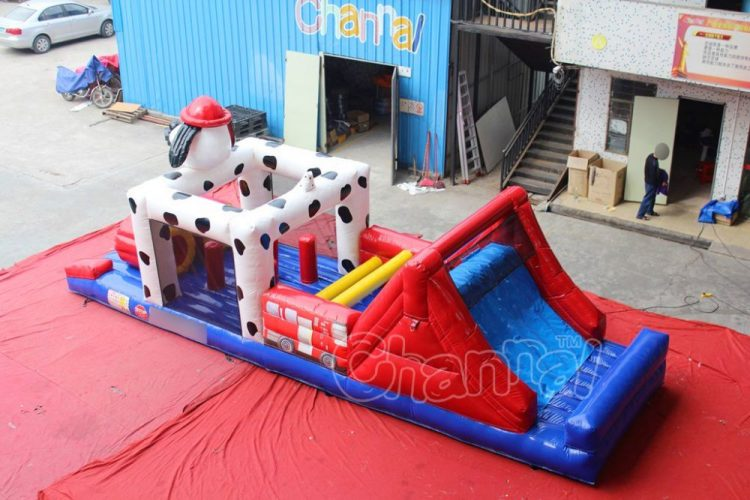 fireman dog inflatable obstacle course for kids