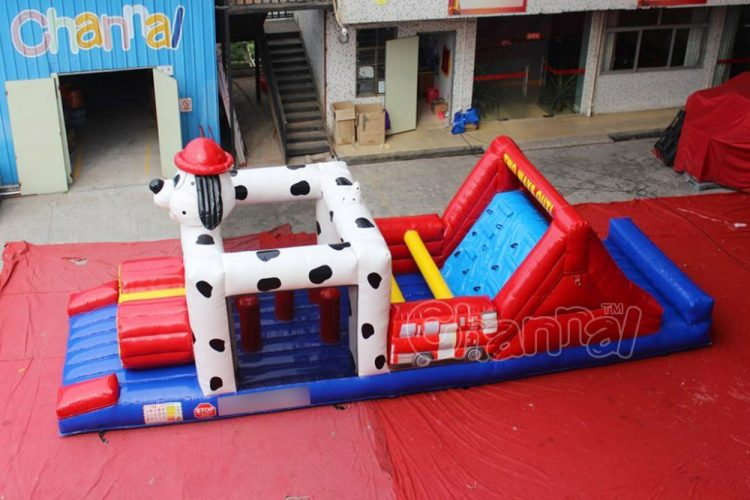firefighter dog inflatable obstacle course