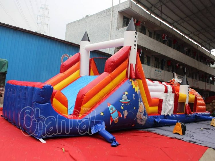 rocket to mars inflatable obstacle course for kids