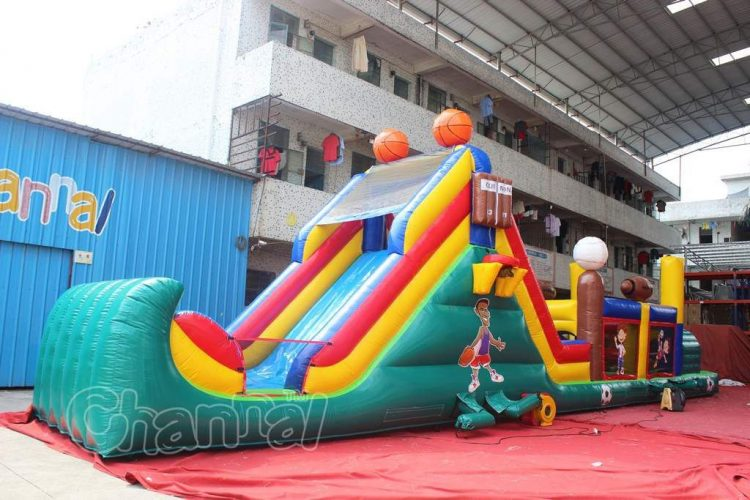 slide exit of obstacle course