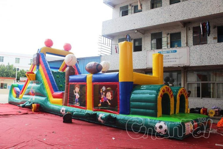 sports themed inflatable obstacle course for kids