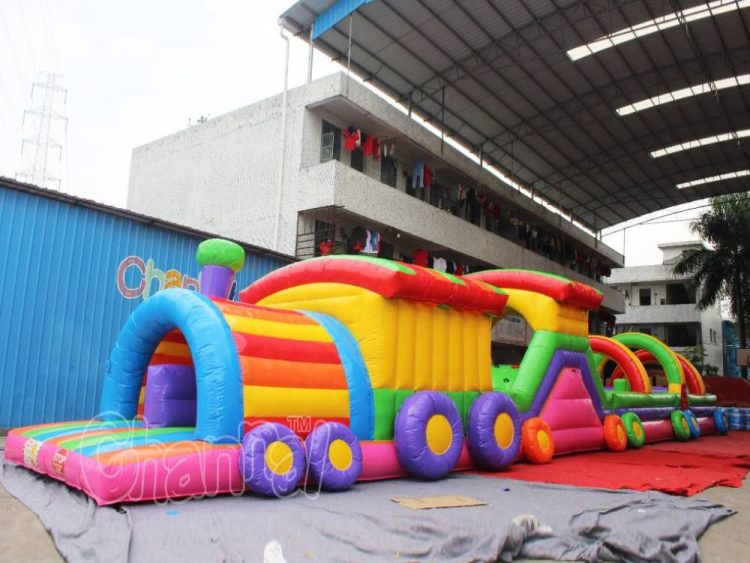 train inflatable obstacle course for sale