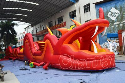 red snake inflatable obstacle course
