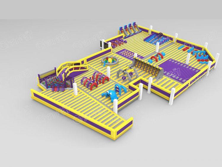 yellow indoor inflatable park