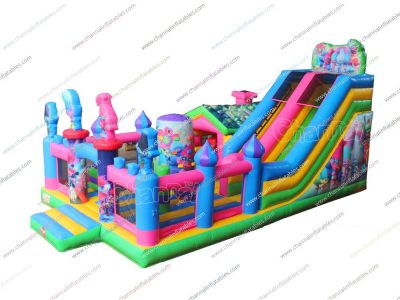 trolls inflatable playground with slide