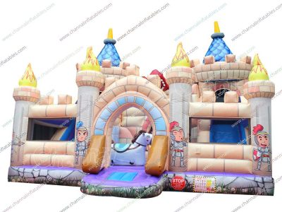 knight vs dragon inflatable playground