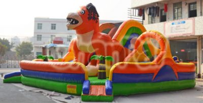 orange dog inflatable playground