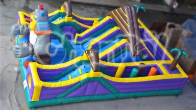 monster battle inflatable obstacle course