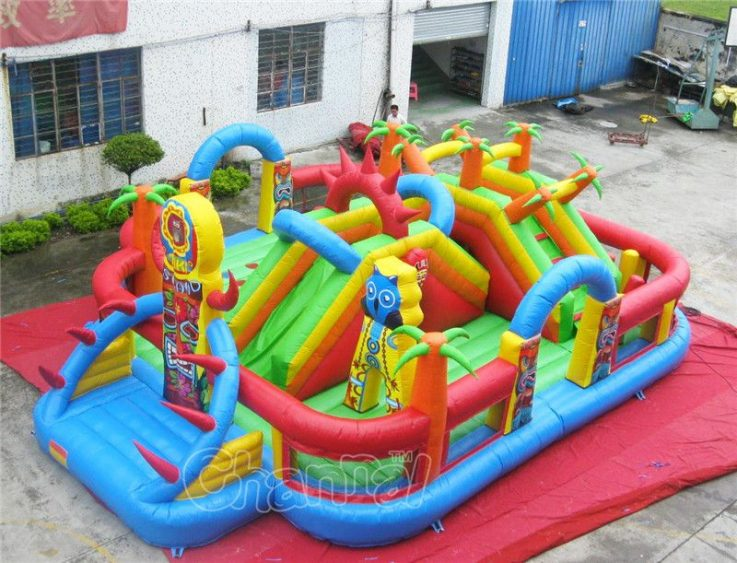 tiki island inflatable interactive playground