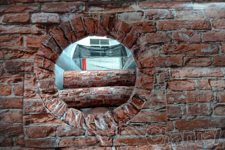 hole in the inflatable wall